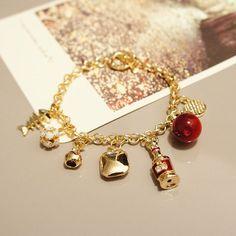 Rose gold bracelet with charms pendant,Chainmaille bracelet,Bridal bracelet,Bridesmaid bracelet,Everyday bracelet,Wedding jewelry,Gift