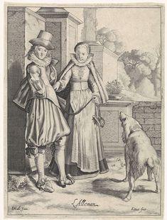 """Engraving, Designer - Dirck Hals (Haarlem 1591 - 1656), Printer - Cornelis van Kittensteyn (Delft 1600 - na 1663): ca. 1610-1638, Dutch, """"Elegant Couple in German Clothing,"""" """"The German, Costumes in Europe."""" 2/6"""