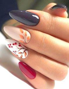 Stylish Nails, Trendy Nails, Cute Nails, Fall Nail Art, Autumn Nails, Best Nail Art Designs, Fall Nail Designs, Cherry Blossom Nails, November Nails