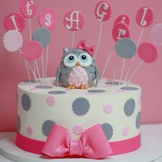 Its-A-girl-baby-shower-cake-Sweet-Memories-Bakery-polka-dot-pink-bow-cute-owl-topper
