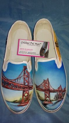 Tenis personalizados pintados a mano 100% lavables. Puente de San Francisco, mas diseños en facebook Cristal Del Mar Calzado