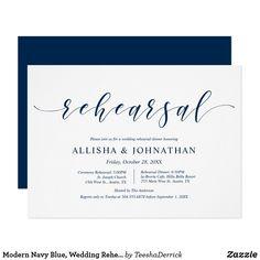 Wedding Rehearsal Invitations, Modern Wedding Invitations, Custom Invitations, Invitation Cards, Rehearsal Dinner Etiquette, Rehearsal Dinners, Match Font, Blue Wedding, Colored Envelopes
