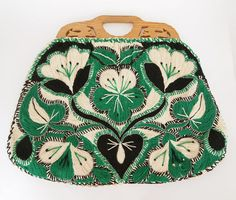 Vintage Green & Black Embroidered Bag with Wooden Handles