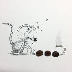 Loïc Apreda The road to coffee! 😴☕️☕️☕️😌 Every morning of ever. Cartoon Pics, Cute Cartoon, Cartoon Art, Cute Drawings, Pencil Drawings, Maus Illustration, Beginner Sketches, Zen Doodle, Pencil Art