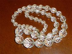 Vintage Crystal Glass Faceted Necklace Art Deco Necklace