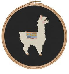 Llama Cross Stitch Pattern - instant digital pdf download -cute animal modern sweet simple by TempleofStitch on Etsy