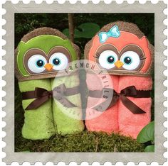 Girl & Boy Owls hooded towel designs. #Embroidery #Applique