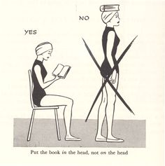 Put the book IN the head, not ON the head!