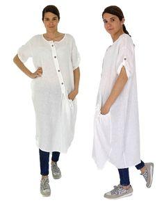 HZ100W Damen Kleid Leinen Tunika Hemd Longtunika Vintage Leinenkittel Kurzarm Oversize weiß Gr. 40 42 44 46 von MeinDesignLagenlook auf Etsy