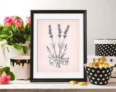 Lavender Flowers Floral 8x10 On the Pink Background & Black ClipArt Antique Retro Printable Image DIGITAL INSTANT DOWNLOAD graphic HQ300dp by ZikkiArt on Etsy
