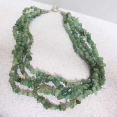 Jade Nugget 4 Multi Strand. Choker Necklace green gemstones watercolorsnmore