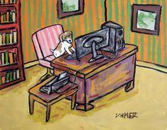 jack russell terrier art PRINT poster gift modern folk office 11x14 JSCHMETZ