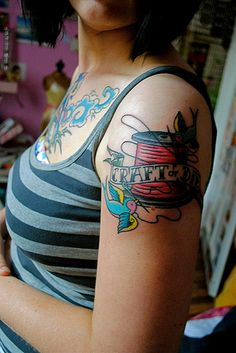 """craft or die tattoo. except I would not want it to say """"craft or die."""" maybe just... """"Crafty."""" or, """"Make things"""". Something that does not include the word """"die."""""""