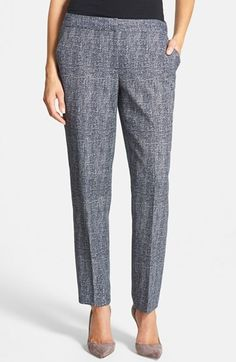 Classiques Entier® 'Trento' Tweed Ankle Pants cotton/poly/spandex navy tweed sz0 29L 112.80