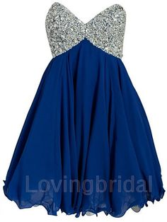 2014 Short  Chiffon Sequins Prom Dress Formal by lovingbridal