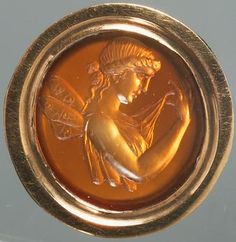 Ancient Roman sard gem depicting Psyche with butterfly wings. (Kunsthistorisches Museum, Wien)