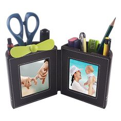Desk Stationery OrganizerLeather Pencil Cup and Pen Holder with Picture Frame for Home Office Supplies Space Saver and Great Gift ItemBrown
