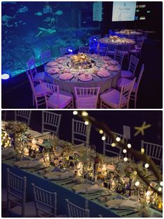 Table Arrangements For Wedding Receptions Under The Sea | visit www.lovelyweddingideas.com