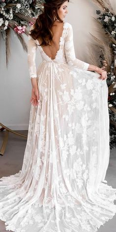 rustic wedding dresses a line open back with long sleeves country wearyourlovexo Rustic Wedding Dresses, Dream Wedding Dresses, Bridal Dresses, Wedding Goals, Wedding Ideas, Perfect Wedding, Fall Wedding, Woodland Wedding, Dream Dress