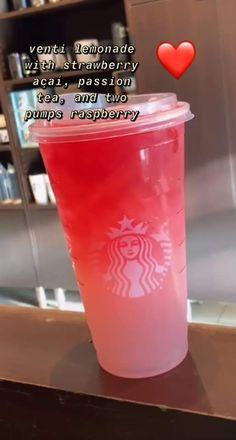 Healthy Starbucks Drinks, Starbucks Secret Menu Drinks, Starbucks Recipes, Yummy Drinks, Starbucks Coffee, Coffee Recipes, Drink Recipes, Smoothie Drinks, Drinking Tea