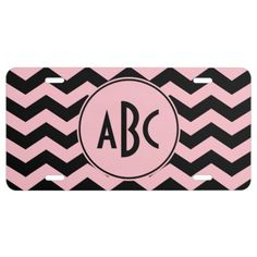 Monogrammed Black and Pink Zigzag License Plate