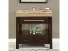Silkroad Exclusive Chester 36 Inch Single Sink Cabinet with 3 Drawers, Travertine Top, Vanity Top Sink Holes) and Bottom Shelf in Espresso Finish Bathroom Vanity Cabinets, Small Bathroom, Single Bathroom Vanity, Vanity, Amazing Bathrooms, Vanity Sink, Wood Bathroom Vanity, Bathroom Vanity Tops, Bathroom