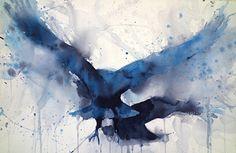 Crow Study I by Sarah Yeoman Watercolor ~ 14 x 21