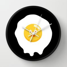 Kentucky Fried Egg Wall Clock by simon oxley idokungfoo.com - $30.00