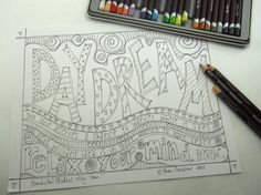 Coloring page for teens and adults: DAYDREAM by HandyGalStudios