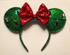 Diy Disney Ears, Disney Diy, Minnie Mouse Headband, Sequins, Sparkle, Bows, Trending Outfits, Unique Jewelry, Handmade Gifts