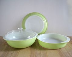 Vintage Pyrex Collection  Lime Green by GoldenDaysAntiques on Etsy, $45.00