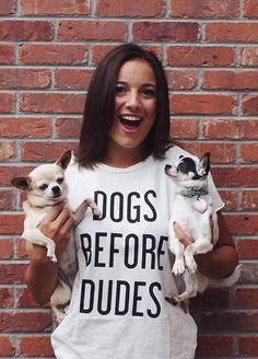 """Cutie @tzele from Instagram in #thetreekisser """"Dogs Before Dudes"""" tee!"""