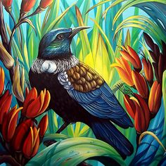 Enchanted - by Irina Velman, NZ. A tui bird takes shelter and sustenance in the… Kunst Online, Online Art, Art Maori, Tui Bird, Flax Flowers, Graffiti, New Zealand Art, Nz Art, Kiwiana