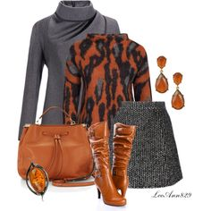 3 colors for fall orange grey blackcontest by leeann829 on Polyvore featuring мода, By Malene Birger, Ermanno Scervino, Rebecca Minkoff and Kenneth Jay Lane