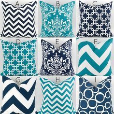 Turquoise & Navy Pillow Covers  18x18  by DeliciousPillows on Etsy