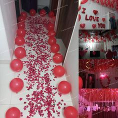 Surprise Party Decorations, Simple Birthday Decorations, Love Decorations, Anniversary Decorations, Romantic Room Decoration, Romantic Bedroom Decor, Birthday Surprise For Husband, Cute Birthday Gift, Diy Anniversary Gifts For Him