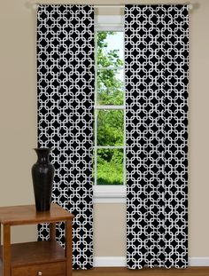 Geometric Black And White Curtain Panels