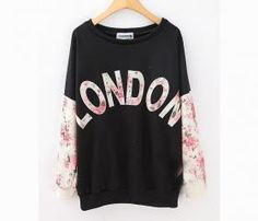 *free ship* LONDON Printed Floral Sweatshirt