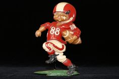 Boys Room Decor, Boys Sports Decor, Boys Football Decor, Football Player No. 88, Red & White Football Team Colors, Wide Receiver, Homco 1976 #etsy #vintage #etsygifts #findsfromyesteryear