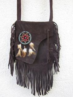 tribal fringe leather bag