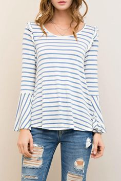 This Stripes & Ruffle top w/ruffle shoulder detail and bell sleeves in denim/ivory is a casual chic look for spring! Pair it with your favorite distressed denim sneakers and you ball cap. Fit is loose intended and feel is lightweight & soft. Wear it on a weekend shopping trip or to bowling night with friends! Stripes & Ruffles by Entro. Clothing - Tops - Casual Kansas