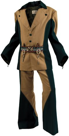 """Lot Detail - Elvis Presley Owned and Worn Bill Belew I.C. Costume Beaded Tan (Light Brown) and Green """"Penguin Suit"""""""