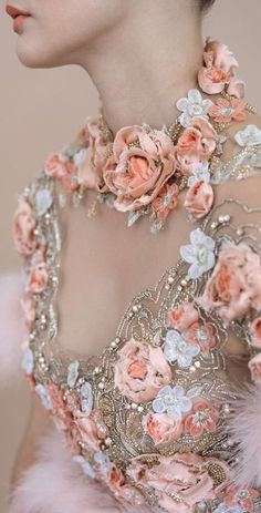 haute couture fashion – Gardening Tips Couture Embroidery, Embroidery Fashion, Beaded Embroidery, Couture Details, Fashion Details, Fashion Design, Mode Abaya, Floral Fashion, Couture Fashion