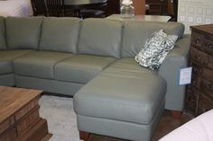 Palliser Juno Sectional With Chaise (WH) : Leather Furniture Expo