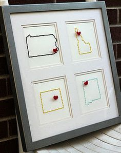 Cute way to display all the states lived in...would make them in separate frames...instead of yarn, elmer's glue painted over...