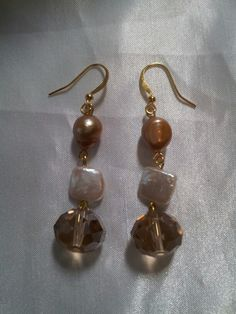 Gorgeous freshwater pearl and crystal earrings by The QueenB Signature Jewelry Collection