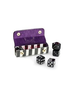 To Die for Dice. Five Lucite dice with light amethyst Swarovski crystals with a leather Henri Bendel case.