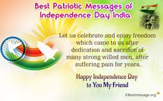 Send best patriotic messages to your friends of Happy Independence Day 2016 India