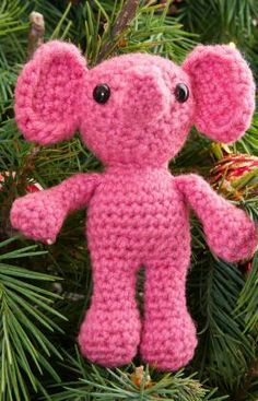 Elenora Elephant Ornament Free Crochet Pattern from Red Heart Yarns