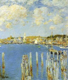Frederick Childe Hassam, Gloucester Inner Harbor (c 1899), oil on canvas, 61 x 50.8 cm, Dumbarton Oaks Research Library and Collection, Washington, DC. WikiArt.